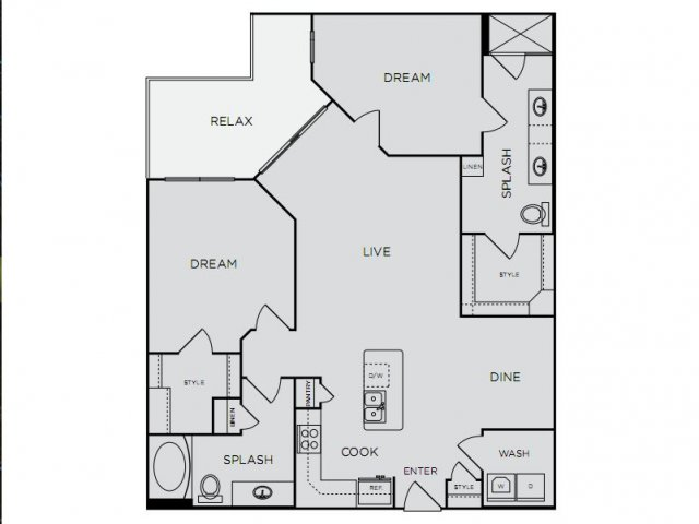 1,291 sq. ft. C2alt2 floor plan