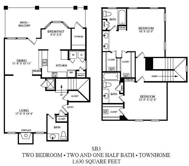 1,630 sq. ft. SB-3 floor plan