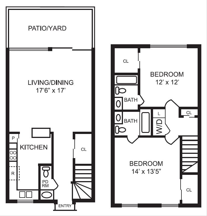 1,188 sq. ft. B2 floor plan
