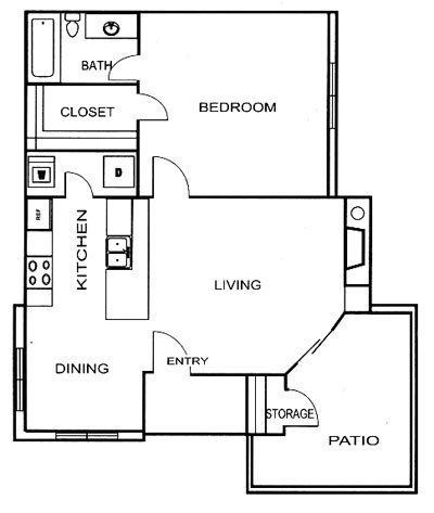 642 sq. ft. A4 floor plan