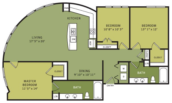 1,410 sq. ft. C1 (II) floor plan