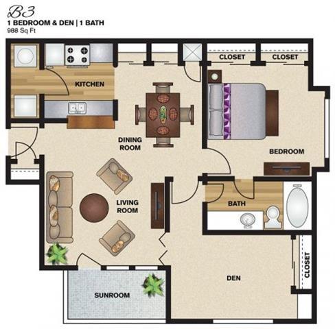988 sq. ft. B3 floor plan