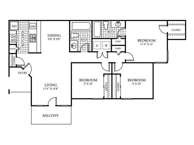 980 sq. ft. C1 floor plan