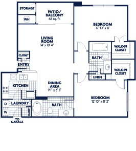 955 sq. ft. B3 floor plan