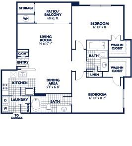 955 sq. ft. B3 floor plan
