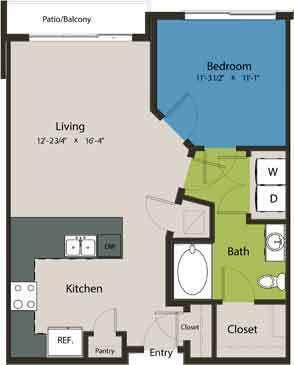 728 sq. ft. A3 floor plan