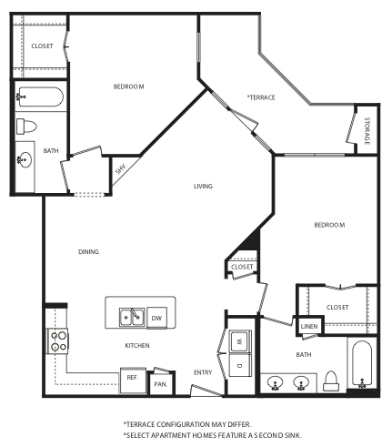 1,200 sq. ft. B10 floor plan
