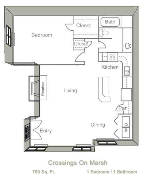 763 sq. ft. A4 floor plan