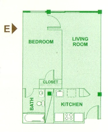 505 sq. ft. E floor plan