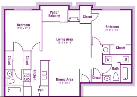 1,005 sq. ft. B4 floor plan