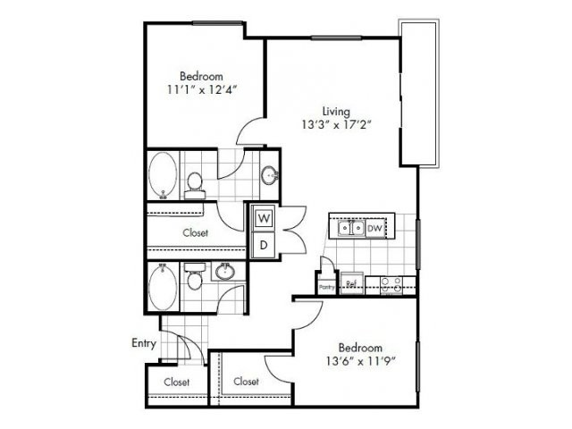 1,115 sq. ft. to 1,143 sq. ft. Laredo floor plan