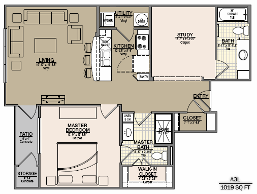 1,066 sq. ft. B6 floor plan