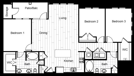 1,458 sq. ft. C1 floor plan