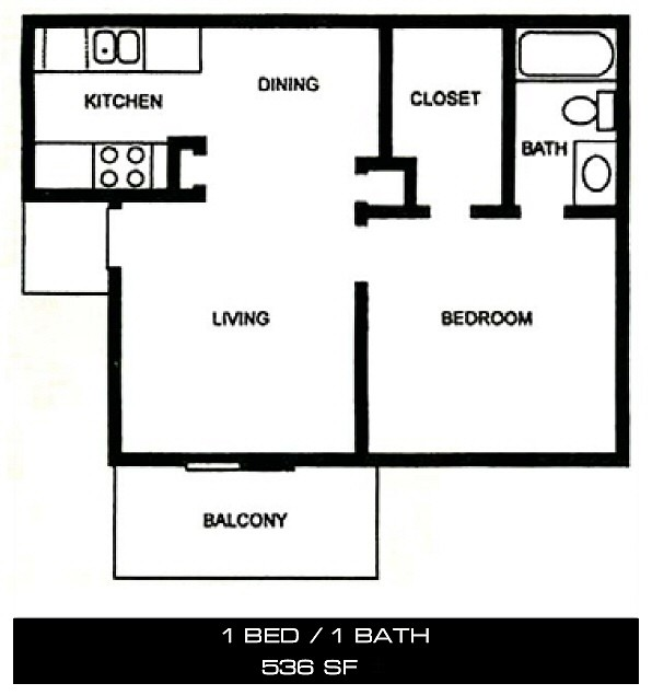 536 sq. ft. A floor plan