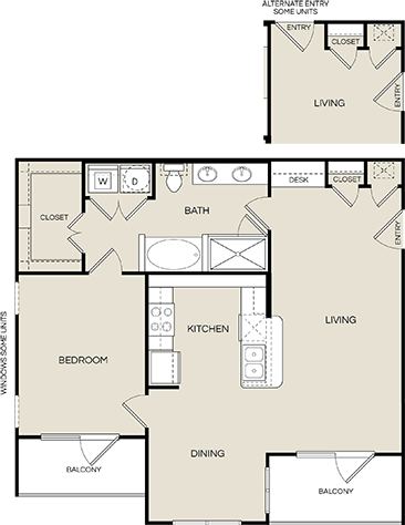 932 sq. ft. A3 floor plan