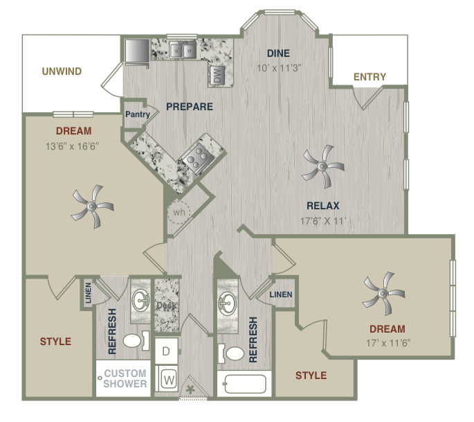 1,327 sq. ft. B2LG floor plan