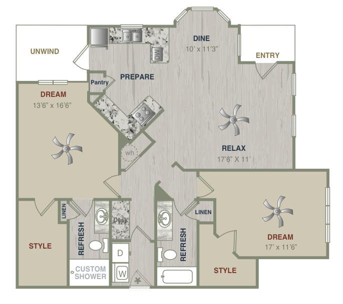 1,327 sq. ft. B2LG floor plan
