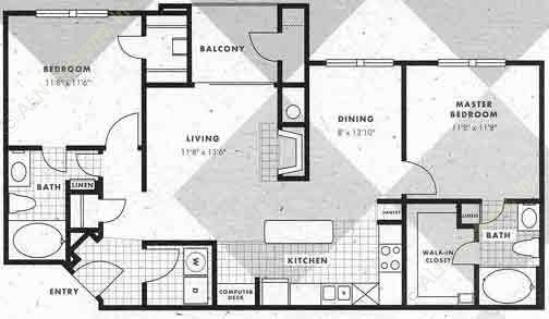 1,052 sq. ft. B2-B2G floor plan