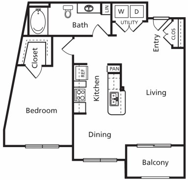 821 sq. ft. B3 floor plan