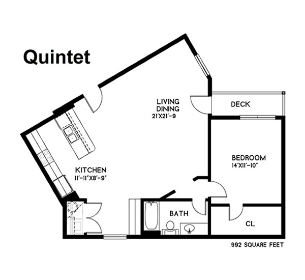 992 sq. ft. Quintet floor plan