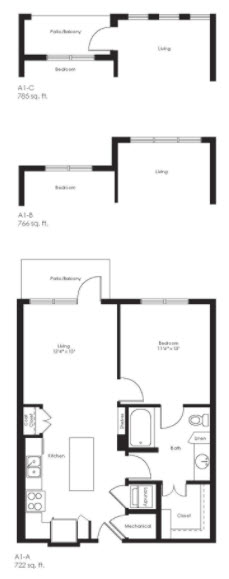 785 sq. ft. A1C floor plan