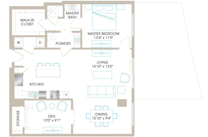 1,188 sq. ft. A7D floor plan