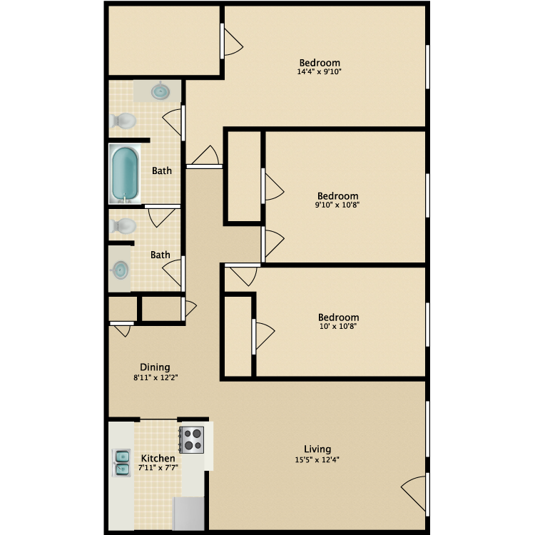 1,162 sq. ft. C2 floor plan
