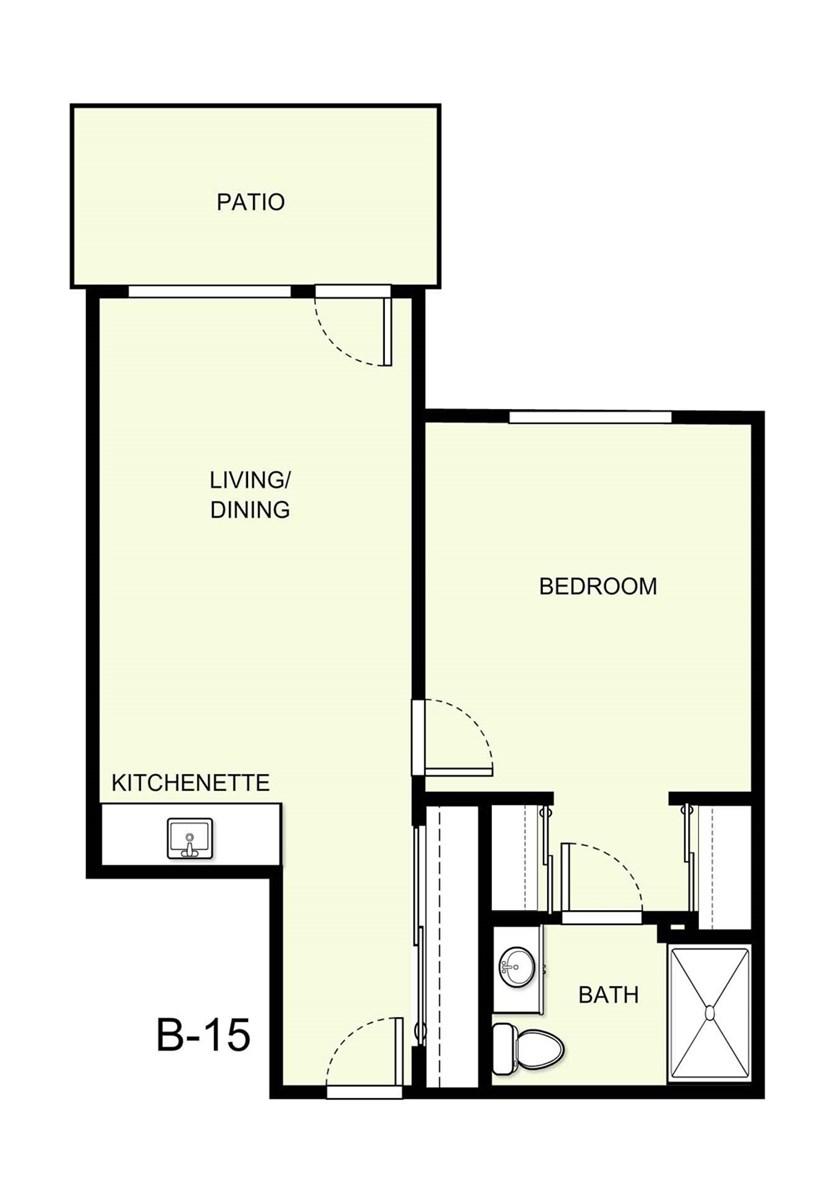 601 sq. ft. B15 floor plan