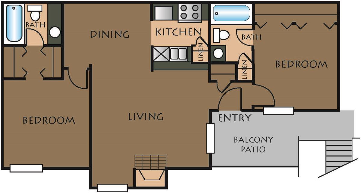 819 sq. ft. B-1 floor plan
