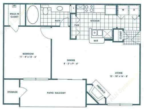 704 sq. ft. A2/Bryce floor plan