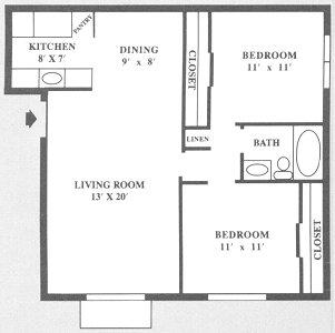 845 sq. ft. B floor plan