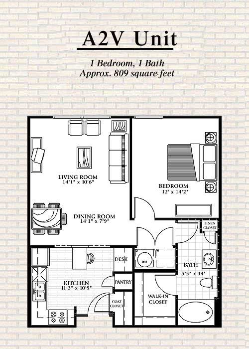 809 sq. ft. to 840 sq. ft. A2 floor plan
