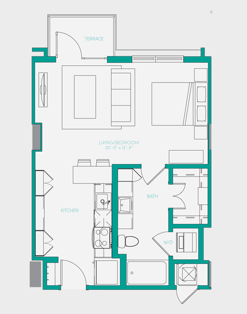 567 sq. ft. S1.2 floor plan