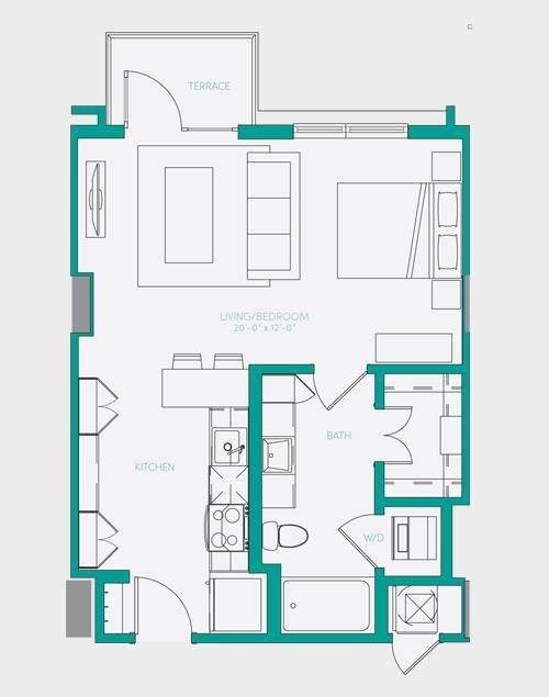 567 sq. ft. S1.2 floor plan