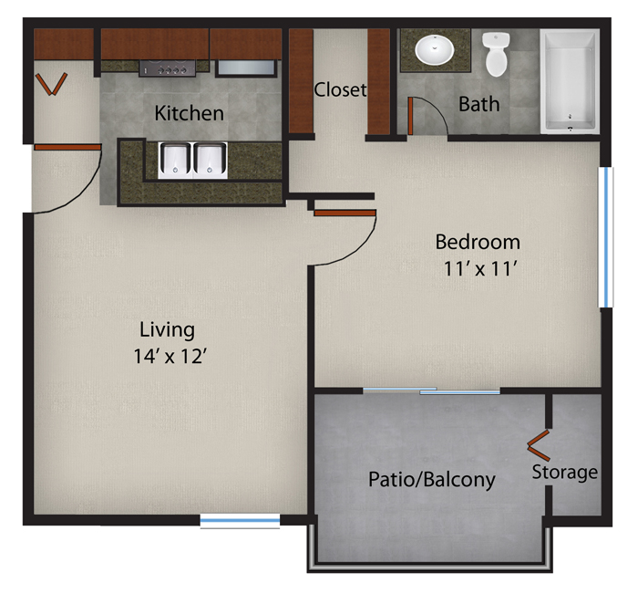 497 sq. ft. to 527 sq. ft. Rosemary-A1 floor plan