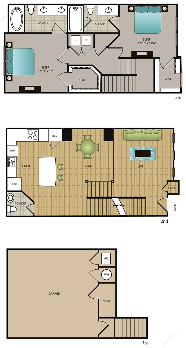 1,360 sq. ft. TH-B1 floor plan
