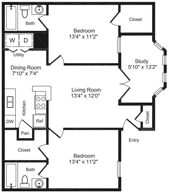 991 sq. ft. E1 floor plan