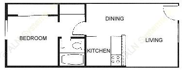 500 sq. ft. 60% floor plan
