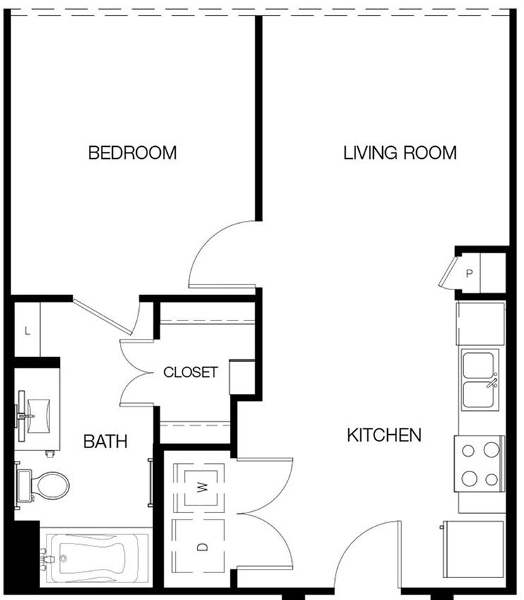 604 sq. ft. A floor plan