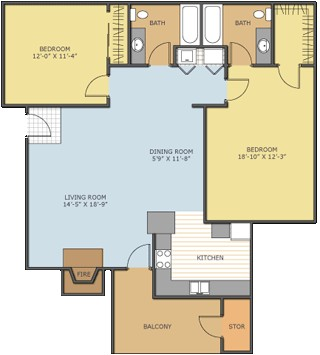 1,150 sq. ft. Dogwood floor plan