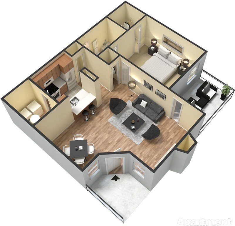 702 sq. ft. floor plan