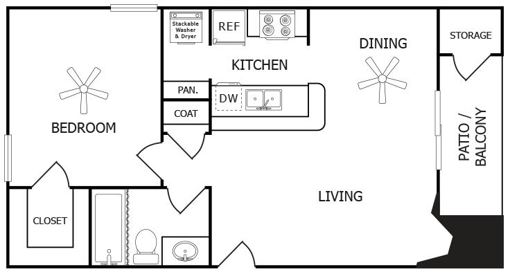 531 sq. ft. B floor plan