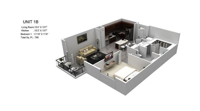 790 sq. ft. Braeburn/1B floor plan