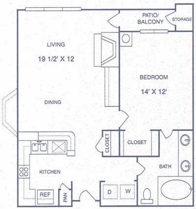 750 sq. ft. BP floor plan