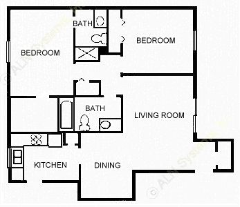 936 sq. ft. CONVNTIL floor plan