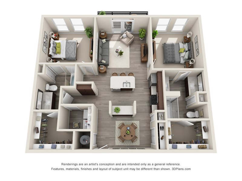 1,248 sq. ft. B4 floor plan