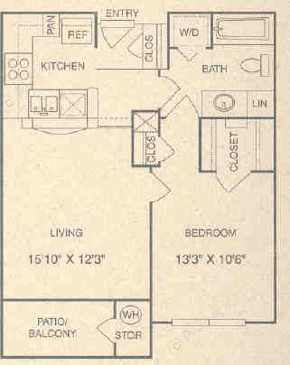 644 sq. ft. AG floor plan