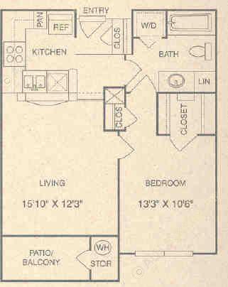 644 sq. ft. AG floor plan