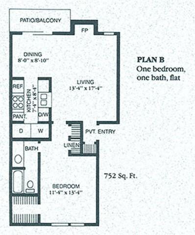 752 sq. ft. BS floor plan