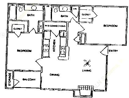 966 sq. ft. B3/60% floor plan